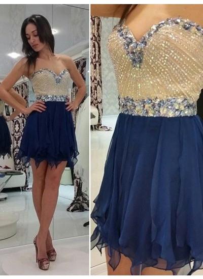A-Linien-/Princess-Stil Herzausschnitt Chiffon Ärmellos Kurze Kleid mit Perlenstickereien