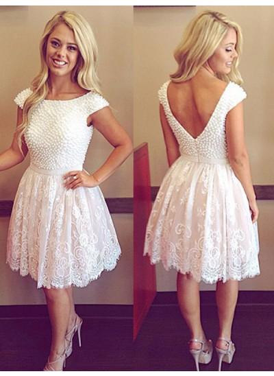 A-Linien-/Princess-Stil Bateau-Ausschnitt Tüll Kurze Ärmel Knielang Kleid mit Perlenstickereien Applikationen
