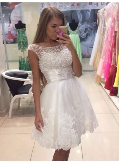 A-Linien-/Princess-Stil U-Ausschnitt Chiffon Ärmellos Kurze Kleid mit Schärpen/Bänder/Gürtel Spitze
