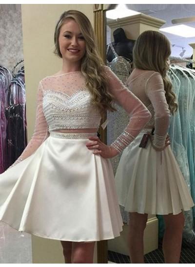 A-Linien-/Princess-Stil Bateau-Ausschnitt Satin Lange Ärmel Kurze Kleid mit Perlenstickereien Spitze