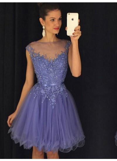 A-Linien-/Princess-Stil Bateau-Ausschnitt Organza Ärmellos Knielang Kleid mit Perlenstickereien Applikationen