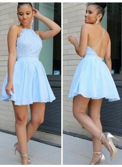 A-Linien-/Princess-Stil Neckholder Chiffon Ärmellos Kurze Rückenfrei Kleid mit Spitze