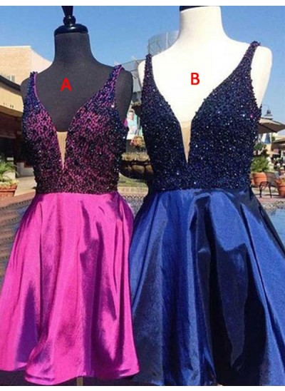 A-Linien-/Princess-Stil V-Ausschnitt Satin Ärmellos Kurze/Mini Kleid mit Perlenstickereien
