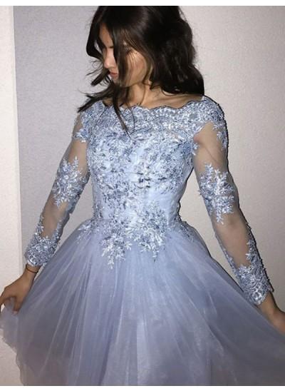 A-Linien-/Princess-Stil Schulterfrei Tüll Lange Ärmel Kurze/Mini Kleid mit Applikationen