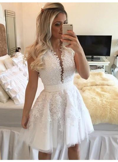 A-Linien-/Princess-Stil V-Ausschnitt Tüll Ärmellos Kurze/Mini Kleid mit Perlenstickereien
