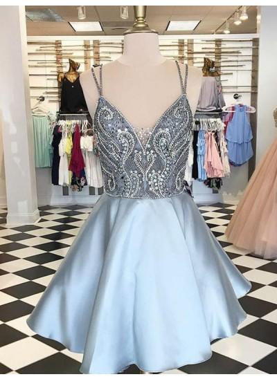 A-Linien-/Princess-Stil Spaghettiträger Satin Ärmellos Kurze/Mini Kleid mit Perlenstickereien