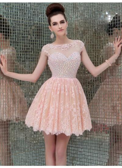 A-Linien-/Princess-Stil U-Ausschnitt Spitze Ärmellos Kurze/Mini Rückenfrei Kleid mit Perlenstickereien