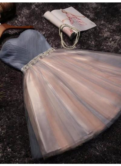 A-Linien-/Princess-Stil Herzausschnitt Tüll Ärmellos Kurze/Mini Kleid mit Perlenstickereien