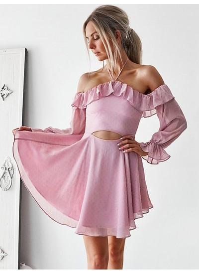 A-Linien-/Princess-Stil Schulterfrei Chiffon Lange Ärmel Kurze/Mini Kleid mit Rüschen