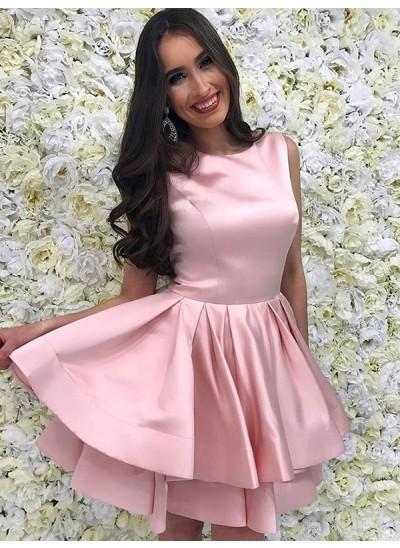 A-Linien-/Princess-Stil U-Ausschnitt Satin Ärmellos Kurze/Mini Kleid mit Rüschen