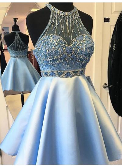 A-Linien-/Princess-Stil Neckholder Satin Ärmellos Kurze/Mini Kleid mit Schärpen