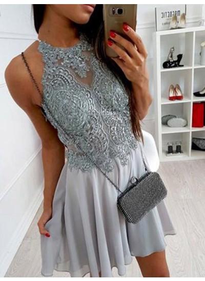 A-Linien-/Princess-Stil Neckholder Chiffon Ärmellos Kurze/Mini Kleid mit Applikationen