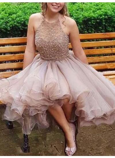 A-Linien-/Princess-Stil Neckholder Organza Ärmellos Kurze/Mini Kleid mit Perlenstickereien