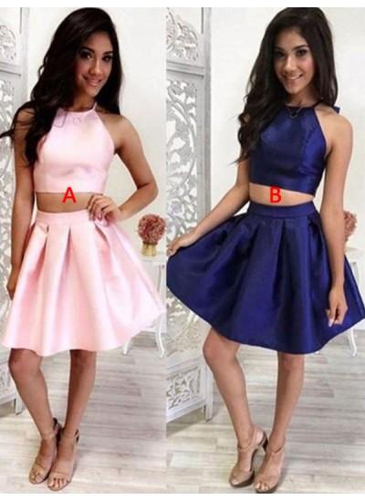 A-Linien-/Princess-Stil Neckholder Satin Ärmellos Kurze/Mini Zwei Stück Kleid mit Rüschen