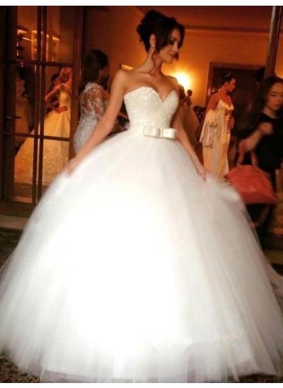 Duchesse-Stil Herzausschnitt Ärmellos Tüll Bodenlang Brautkleid mit Schleifen