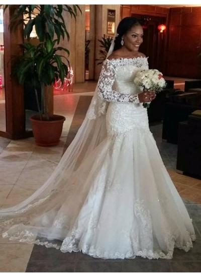 Trompeten-/Meerjungfrauenkleider Schulterfrei Lange Ärmel Tüll Bodenlang Brautkleid mit Spitze