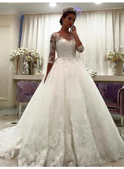 Duchesse-Stil Bateau-Ausschnitt Hofschleppe Dreiviertelärmel Tüll Brautkleid mit Spitze