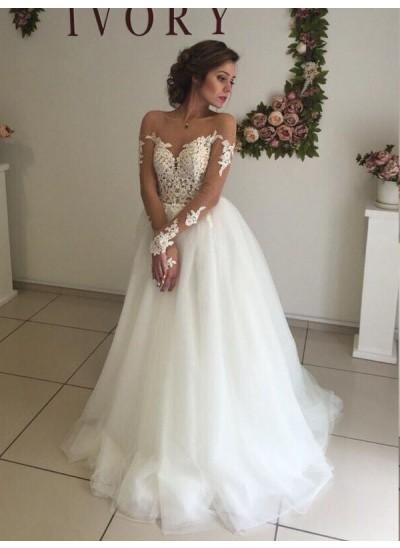A-Linien-/Princess-Stil Schulterfrei Pinselschleppe Lange Ärmel Organza Hochzeitskleid