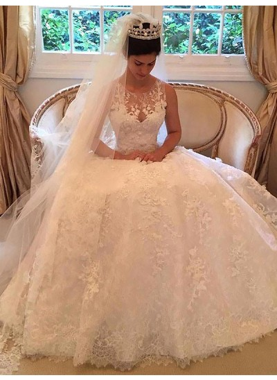 A-Linien-/Princess-Stil U-Ausschnitt Hofschleppe Ärmellos Spitze Brautkleid mit Applikationen