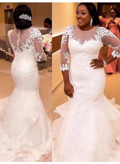 Trompeten-/Meerjungfrauenkleider U-Ausschnitt Hofschleppe Dreiviertelärmel Tüll Brautkleid in Übergröße
