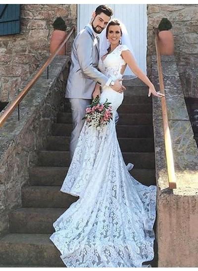 Trompeten-/Meerjungfrauenkleider Herzausschnitt Hofschleppe Ärmellos Brautkleid
