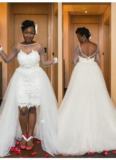 A-Linien-/Princess-Stil U-Ausschnitt Hofschleppe Lange Ärmel Tüll Asymmetrisch Brautkleid