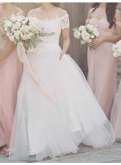 A-Linien-/Princess-Stil Bateau-Ausschnitt Pinselschleppe Kurze Ärmel Tüll Brautkleid