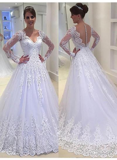 A-Linien-/Princess-Stil V-Ausschnitt Hofschleppe Lange Ärmel Tüll Brautkleid mit Applikationen