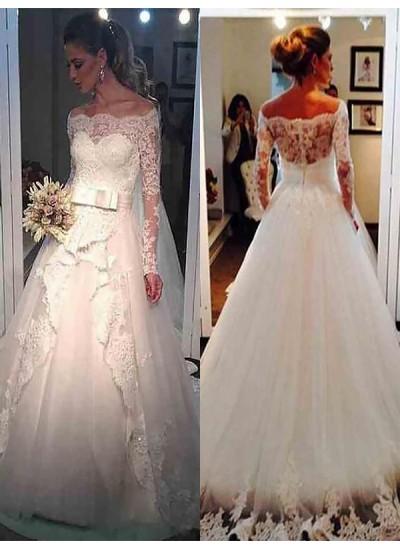 Duchesse-Stil Schulterfrei Pinselschleppe Lange Ärmel Tüll Brautkleid