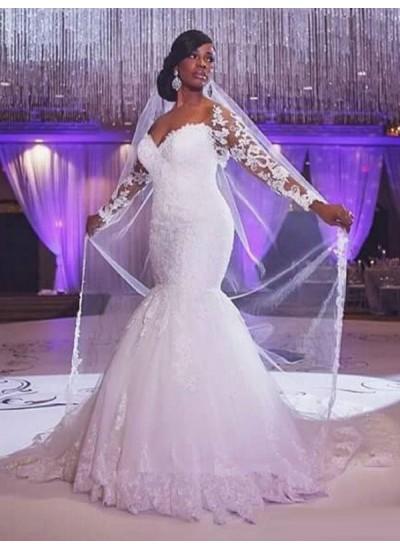 Trompeten-/Meerjungfrauenkleider Herzausschnitt Pinselschleppe Lange Ärmel Tüll Brautkleid mit Applikationen
