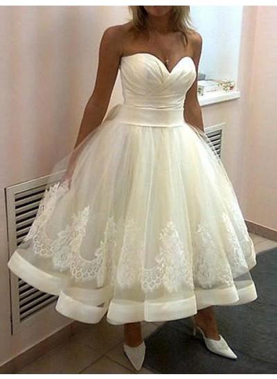 Duchesse-Stil Herzausschnitt Wadenlang Ärmellos Tüll Hochzeitskleid mit Applikationen