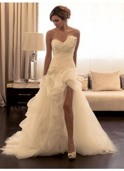 Duchesse-Stil Herzausschnitt Pinselschleppe Ärmellos Organza Perlenstickereien Brautkleid mit Schlitz