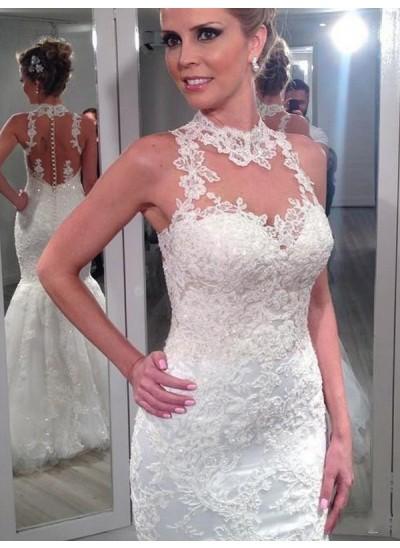Trompeten-/Meerjungfrauenkleider Stehkragen Bodenlang Ärmellos Tüll Brautkleid mit Spitze