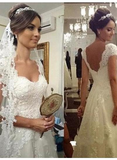 A-Linien-/Princess-Stil Herzausschnitt Bodenlang Ärmellos Tüll Brautkleid mit Spitze
