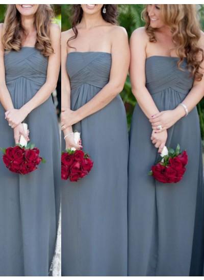 A-Linien-/Princess-Stil Trägerlos Chiffon Bodenlang Ärmellos Brautjungfernkleid mit Rüschen
