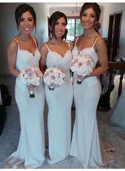 Etui-Linie Herzausschnitt Satin Pinselschleppe Ärmellos Brautjungfernkleid mit Spitze