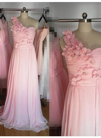 A-Linien-/Princess-Stil One-Shoulder-Träger Chiffon Bodenlang Ärmellos Brautjungfernkleid mit Handgemachte Blumen