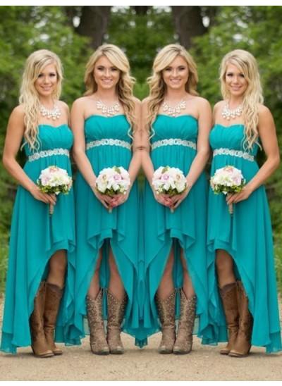A-Linien-/Princess-Stil Herzausschnitt Chiffon Asymmetrisch Ärmellos Brautjungfernkleid mit Perlenstickereien