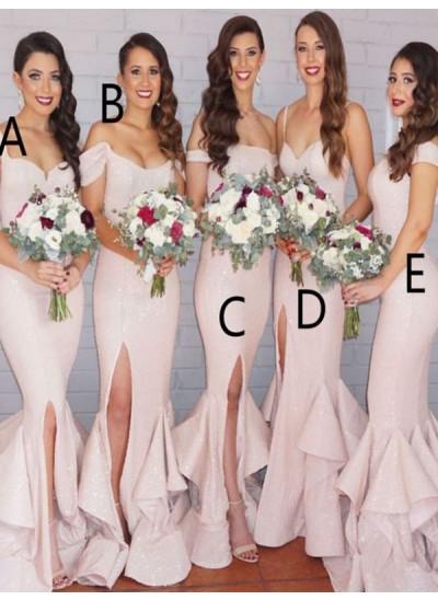 Trompeten-/Meerjungfrauenkleider Pailletten Bodenlang Ärmellos Brautjungfernkleid mit Schichten