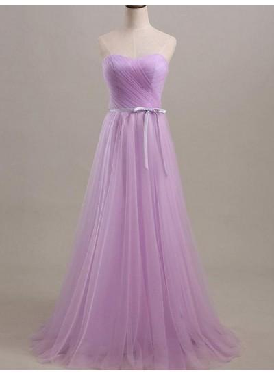 A-Linien-/Princess-Stil Herzausschnitt Tüll Bodenlang Ärmellos Brautjungfernkleid mit Schärpen/Bänder/Gürtel