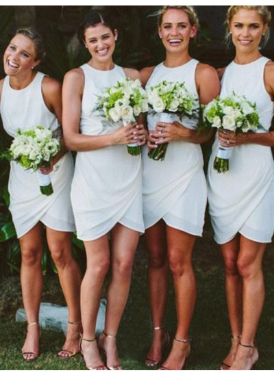 Etui-Linie U-Ausschnitt Chiffon Kurze Ärmellos Brautjungfernkleid
