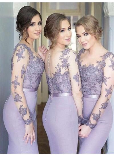 Trompeten-/Meerjungfrauenkleider U-Ausschnitt Jersey Bodenlang Lange Ärmel Brautjungfernkleid