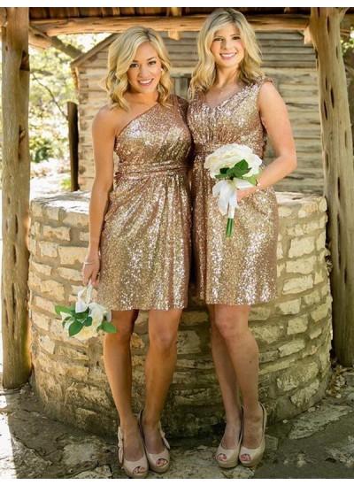 Etui-Linie Herzausschnitt Pailletten Kurze Ärmellos Brautjungfernkleid