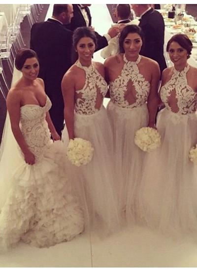 A-Linien-/Princess-Stil Neckholder Tüll Bodenlang Ärmellos Brautjungfernkleid mit Applikationen