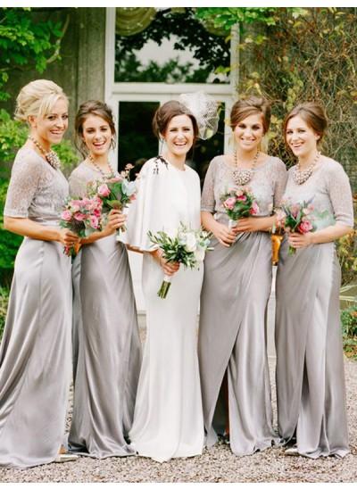 A-Linien-/Princess-Stil U-Ausschnitt Satin Bodenlang 1/2 Ärmel Brautjungfernkleid