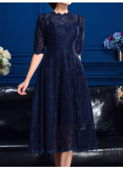 A-Linien-/Princess-Stil Juwel-Ausschnitt Spitze 1/2 Ärmel Knielang Abendkleid mit Spitze