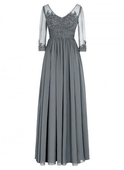 A-Linien-/Princess-Stil U-Ausschnitt Lange Ärmel Chiffon Bodenlang Brautmutterkleid mit Applikationen