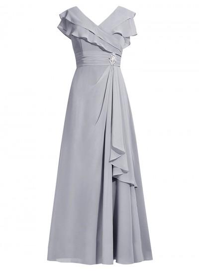 A-Linien-/Princess-Stil V-Ausschnitt Kappenhülsen Chiffon Bodenlang Brautmutterkleid mit Strasssteine