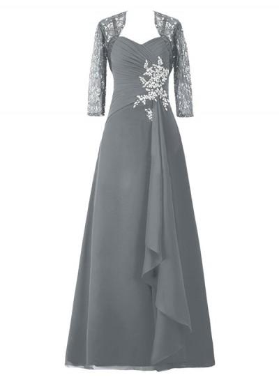 A-Linien-/Princess-Stil Spaghetti Träger Halbe Ärmel Chiffon Bodenlang Brautmutterkleid mit Perlenstickereien Spitze