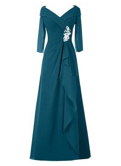 A-Linien-/Princess-Stil V-Ausschnitt Lange Ärmel Chiffon Bodenlang Brautmutterkleid mit Rüschen